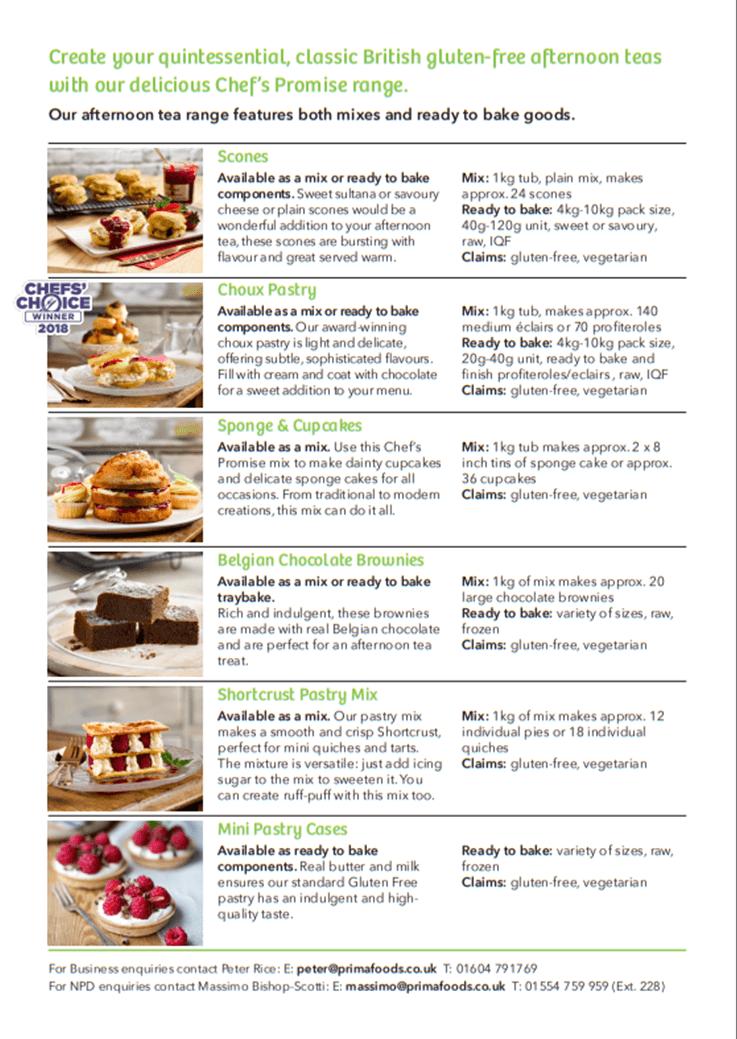 Afternoon Tea - Gluten Free - Prima Foods UK LTD
